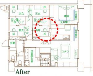 長男さんのお部屋のエアコンの位置は、専有部分のまさに中央。