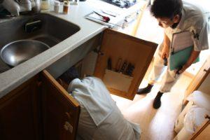 キッチンの排水管を調べる菅谷監督。